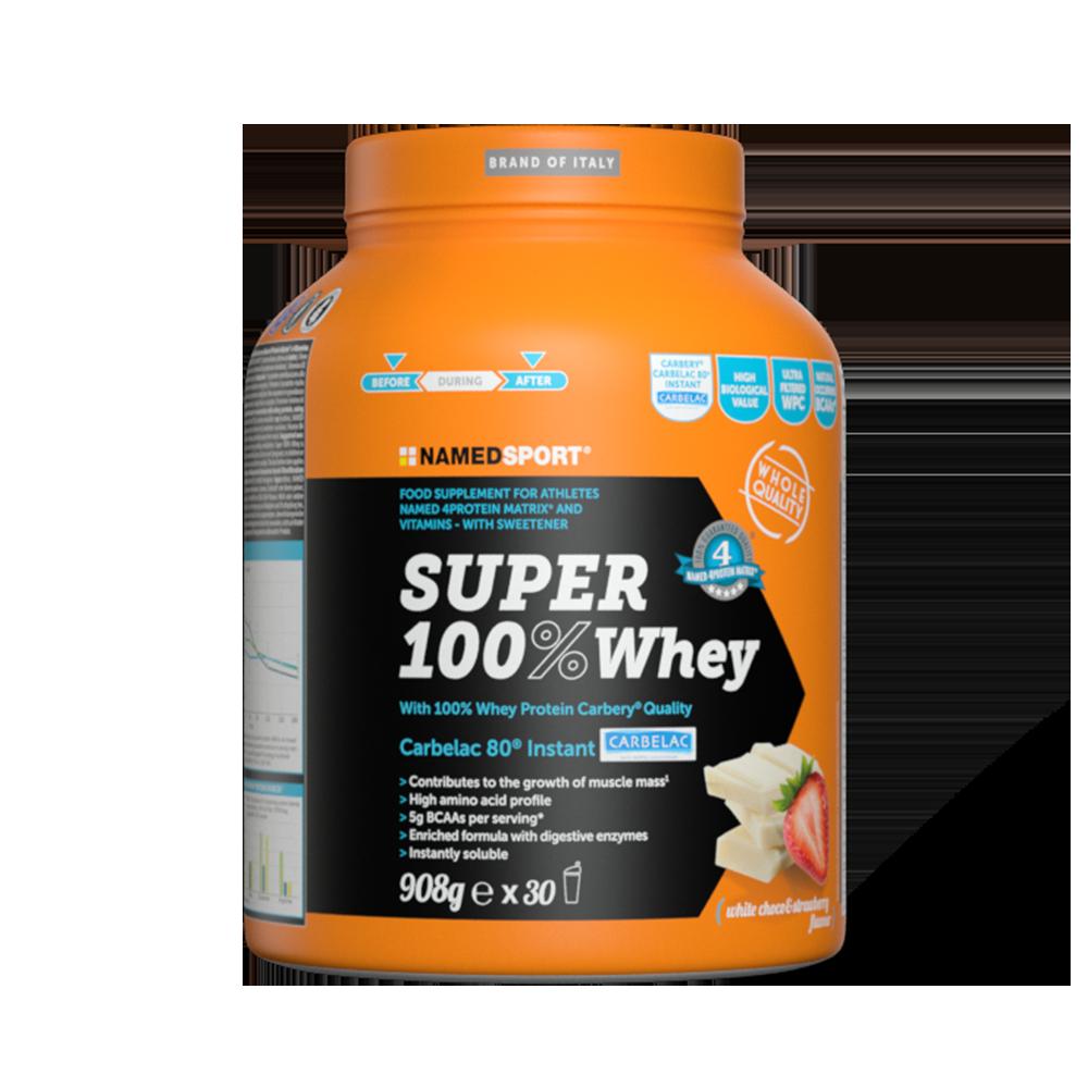 Super 100% Whey White Choco & Strawberry Integratori per lo sport Named Sport