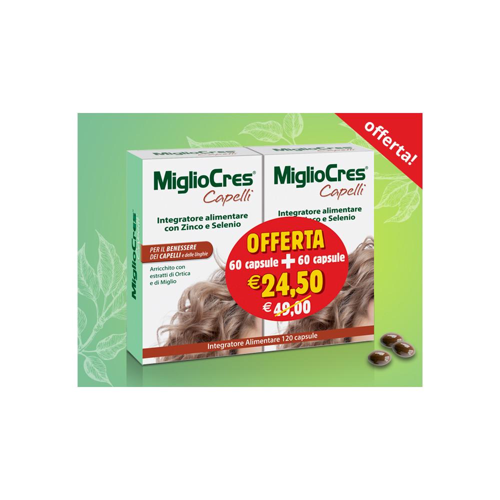 Migliocres Capelli 60 + 60 capsule Integratori alimentari Migliocres
